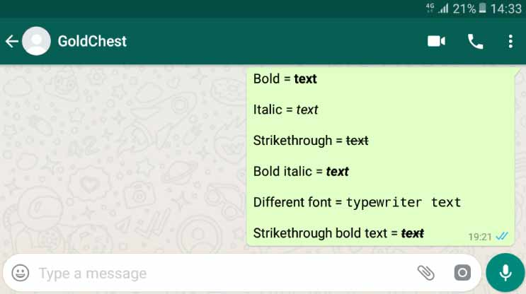 WhatsApp Text Appearance 1